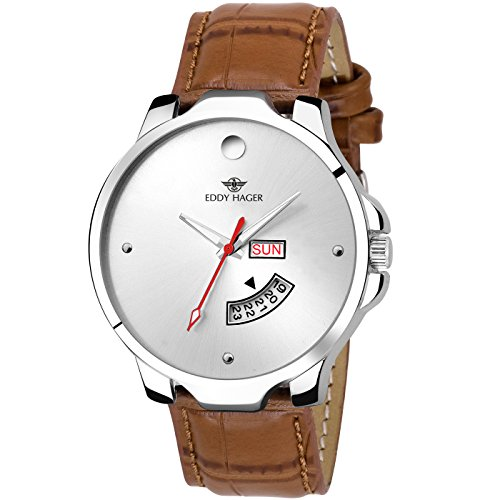 Eddy Hager Sliver Round Dial Day And Date Men\'s Watch_Eh-140-Br