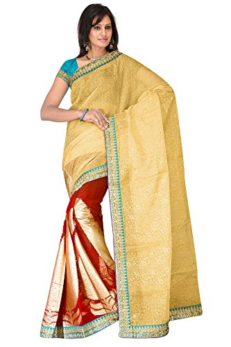 Cream with Sky Blue stone work embroidered tissue sarees
