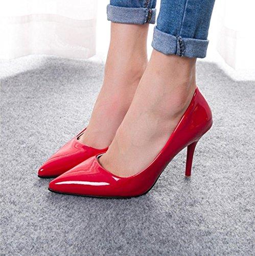 Da donna-Tacchi-Casual-Comoda-A stiletto-PU (Poliuretano)-Nero / Blu / Rosa / Viola / Rosso / Argento / Grigio / Dorato / Beige Red