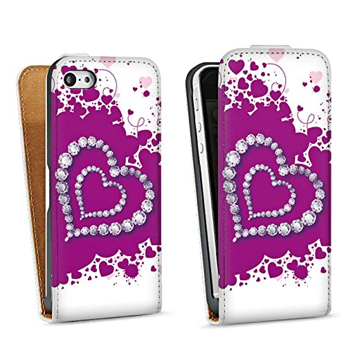Apple iPhone 5 Housse Étui Silicone Coque Protection C½ur Amour Amour Sac Downflip blanc