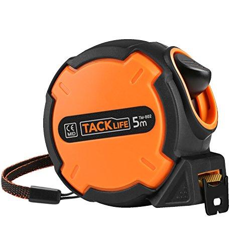 Tacklife-TM-B02-B-Cinta metrica 5 metro, cinta de meidida de función autoblocante y alta precisión, desgaste antidesgaste flexometro diseño antideslizante y inoxidable en hogar o decoración