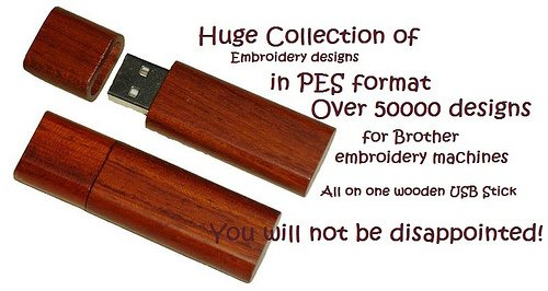 Huge embroidery desigs collection on a USB stick, PES format for brother embroidery machines