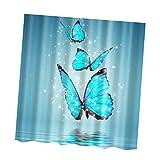 Gazechimp Badewannenvorhang Duschvorhang inkl. 12 Duschvorhanghaken für Badezimmer - Blauer Schmetterling, 180x180cm