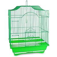189146 Gabbia per uccelli 49.5X34.27 cm di piccole dimensioni mangiatoie incluse. MEDIA WAVE store (Verde)