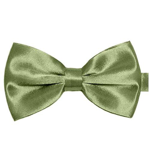 GASSANI Herren-Fliege Khaki-Grün Satin Seide-Optik | vor-gebundene Anzugschleife Doppelflügel | verstellbar -