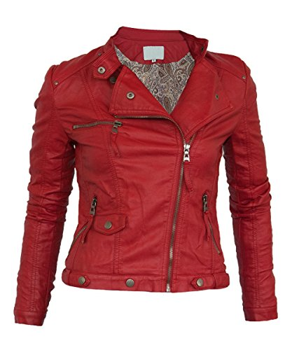 Softy Damen Lederjacke in 30 Farben Biker Style 0508 Vegan Leder, Farbe:rot, Größe:36 (Rot Leder Jacken Für Frauen)