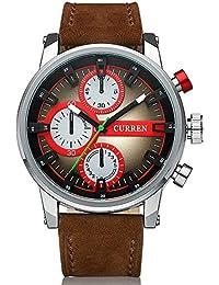 Reloj cronógrafo de hombre Curren correa de piel de colour marrón y plateado rojo salvaje