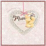 Hallmark - Biglietto d'auguri per festa della mamma, con delizioso orsetto di Forever Friends e brillantini, formato grande, quadrato