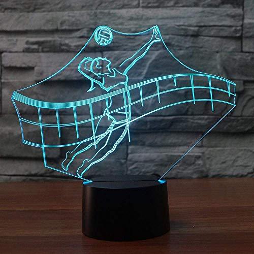 SSYYJJ 3D Illusion Nachtlampe für Kinder Dekoration Geburtstag Geschenk Tischlampen Beach-Volleyball, der Sportbefestigungen modelliert