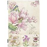 Papel de arroz para decoupage–Flores petunias–Pájaros