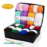 SOLEDI Pelotes de Laine en Acrylique, Kit de Fil Acrylique Hyper Doux pour Tissage à La Main Avec 2 Crochets et Sac de Rangement Réutilisable (50 g * 12 Couleurs)