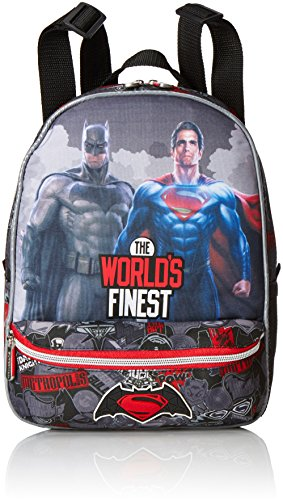 Batman & Superman Finest Mochila Infantil con Bolsillo, Color Negro