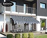 Rollolux Klemmmarkise - Balkonmarkise 350 x 120 cm Blau/Weiss - Markise mit Handkurbel - Sonnenschutz - Markise mit Gestell - 230-300 cm...