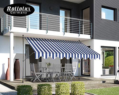 Rollolux Klemmmarkise - Balkonmarkise 400 x 120 cm Blau/Weiss - Markise mit Handkurbel - Sonnenschutz - Markise mit Gestell - 230-300 cm Höhenverstellbar - ohne Bohren