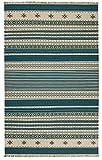 Second Nature Kovalam Geometrische Streifen Wolle Kelim Teppich blau grau weiß (Fair Trade) 150cm x 240cm