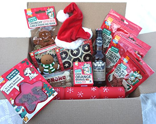 THE ULTIMATE LUXURY DOG CHRISTMAS HAMPER WITH TREATS TOYS HAT CARD & DOG BEER