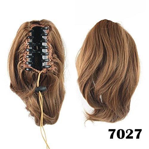 Zubehör Partei Und Brown Rosa (Quibine 25cm Kurz MINI haarverlängerung glattes Haar Pferdeschwanz Ponytail mit Clip Klaue,)