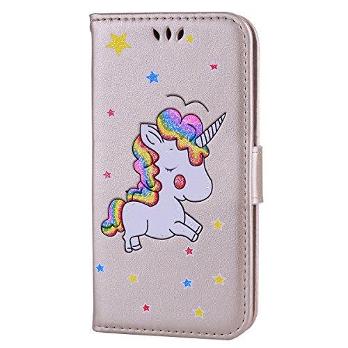 b878f2bfb1 Galaxy S6 Custodia, CXTcase Samsung S6 Unicorno Pelle Libro Copertura Shell  Magnetico Book Style Internamente