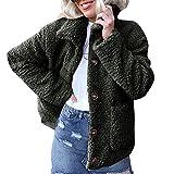 TianWlio Jacken Parka Mäntel Damen Herbst Winter Warme Jacken Warme Künstliche Wollmanteljacke Revers Winter Oberbekleidung Grün S