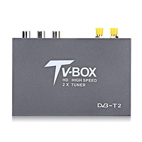 Ricevitore TV digitale per auto, 1080 p, DVB-T2, con cavi, 2 sintonizzatori di antenna/telecomando