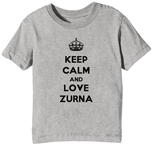 Keep Calm and Love Zurna Kinder Unisex Jungen Mädchen T-Shirt Rundhals Grau Kurzarm Größe S Kids Boys Girls Grey Small Size S