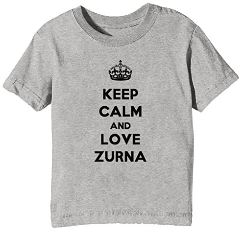 Keep Calm and Love Zurna Kinder Unisex Jungen Mädchen T-Shirt Rundhals Grau Kurzarm Größe XS Kids Boys Girls Grey X-Small Size XS