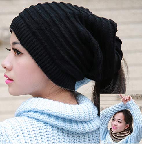 KJNHL Winter Warme Mütze Damen Einfarbig Gestreift Lässig Dual Schwarzen Hut