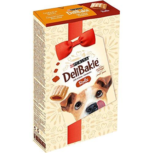 Delibakie Cane Snack Rolls Biscotto per Cani Gusto Prosciutto e Formaggio, 320 g – Confezione da 6 Pezzi
