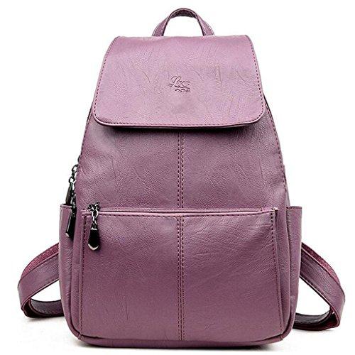 Y&F Frau Freizeitpaket Rucksack Schulranzen Schultertaschen Reisetasche 28 * 15 * 35 cm Purple