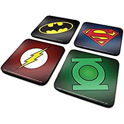 Juego de 4 posavasos originales de DC: Batman, Superman, Flash y Linterna Verde