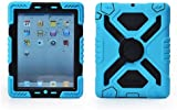 NEW pepkoo iPad mini Silicone Plastic Protective Dual Layer Shock Absorbing Kids-Proof Case Built in Stand Designed for the Apple iPad mini / iPad mini 2 (IPAD MINI/IPAD MINI2, Blue/Black)