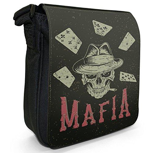 Grunge Kult Spaß Totenkopf Kunst Hipster Musik Kleine Schultertasche aus schwarzem Canvas Kartenspiel Mafia Totenkopf