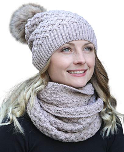 Winter Kombi Set, bestehend aus Damen Schal und passender Strick Mütze. Bommelmütze mit Pompon in aktuellen Farbkombinationen, Winter Set:3C-hellrosa