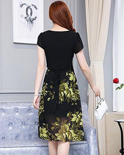 Damen Vintage Chiffon Kleider Cocktailkleid Retro Rundhals Knielang ...