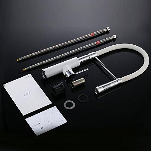 Homelody – Spültischbatterie mit flexibler Spiralfeder, herausziehbar, hoher Auslauf, Weiß-Chrom - 7