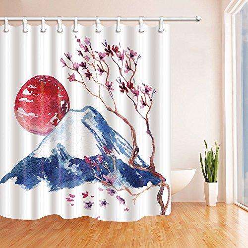 nyngei Sakura Blumen auf Fuji Mountain Decor Watercolor Japanische Kirschblüte Duschvorhang Polyester-Schimmelresistent-Badezimmer Badewanne Vorhänge Set mit Haken, 180x 180cm (Badezimmer-set Sakura)