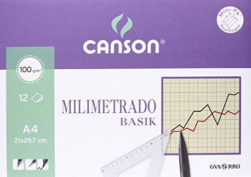 Canson 406323 - Papel milimetrado, 12 hojas