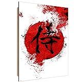 Feeby. Wandbilder - 1 Teilig- 70x100 cm - Bilder Kunstdrucke Deko Panel, Kanji Samurai - Nikita Abakumov, Japan, Rot, Kanji