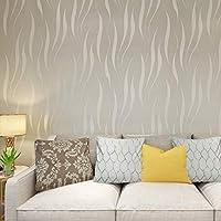 HANMERO® Papel pintado extra grueso, no tejido, flocado, 3D diseño, gris plateado,0,53 m x 10 m