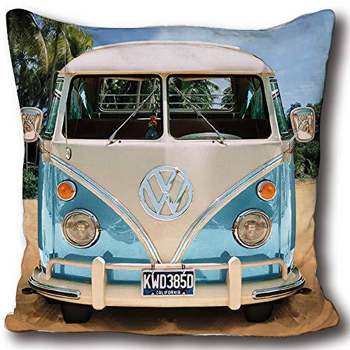VW Volkswagen Kuschel-Kissen Bulli T1 blau grün rot 40 cm x 40 cm VW Bus Campervan Schmusekissen Kuschelkissen Deko-Kissen Zierkissen Auto-Kissen Reise-Kissen Kopfkissen Polster zur Bettwäsche 084