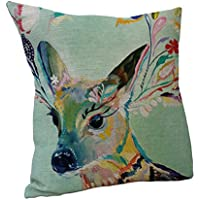 Nunubee Oil Painting Deer Throw Pillow Cushion Covers Cotton Linen Home Sofa Decor Gift