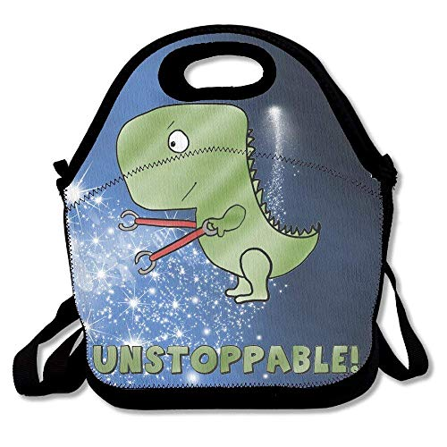 fengxutongxue Unstoppable Cute Dinosaur Insulated Lunch Bag with Zipper,Carry Handle and Shoulder Strap for Adults Or Kids Black