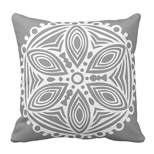 Light Grey and White Art Design Pattern Square Pillow Cases Personalized Indoor/Outdoor Cushion Covers