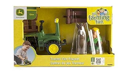 TOMY John Deere Spaß mit dem Traktor Spielset - Bauernhofset zum Spielen für drinnen und draußen - für Kleinkinder ab 12 Monate