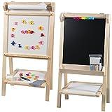 Holz-Standkindertafel mit Papierrolle und Abakus, 89x46cm, Standkindertafel Papierrolle Abakus Standtafel Kindertafel Magnettafel Maltafel Tafel
