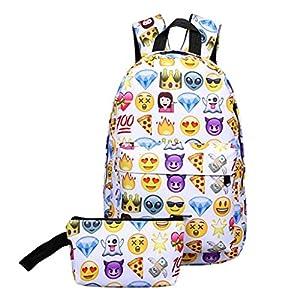 51S8hDI%2B hL. SS300  - CANDT Emoji Mochila 3D Cute Smiley Print Mochila Mochila Impermeable de Nylon Adecuado para Adolescentes Bolsa de Viaje de Escuela