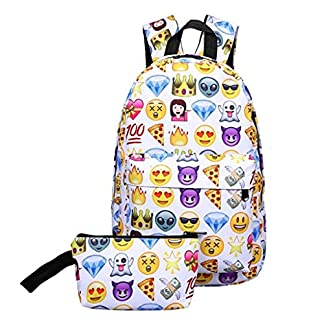 51S8hDI%2B hL. SS324  - CANDT Emoji Mochila 3D Cute Smiley Print Mochila Mochila Impermeable de Nylon Adecuado para Adolescentes Bolsa de Viaje de Escuela