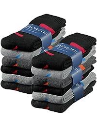 Lavazio® 6   12   18   24 Paar Herren Arbeitssocken Sportsocken Thermo Socken dick & herrlich schwarz/grau