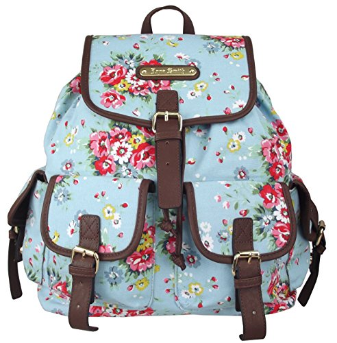 Diseñador UKFS Flower (floral) Imprimir Florence Mochila / Twin Pocket Bolsos mochila (Anna Smith Luz Azul)