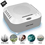 White Noise Machine, Sound Therapy Machine, Baby Sound Machine, with 5 Soothing Natural Sounds, 3 Timer, TF Card and Background Night Light (grey)